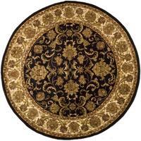 Safavieh Handmade Jaipur Traditional Oriental - Black / Ivory Wool Rug - 8' x 8' Round