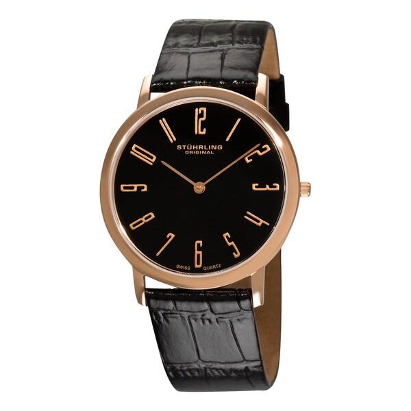Stuhrling Original Men's Black 'Belmont' Ultra Slim Rosetone Watch