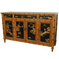 Handmade Black Wood 60-inch Ching Hall Cabinet (China)