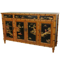 Handmade Black Wood 60-inch Ching Hall Cabinet (China)