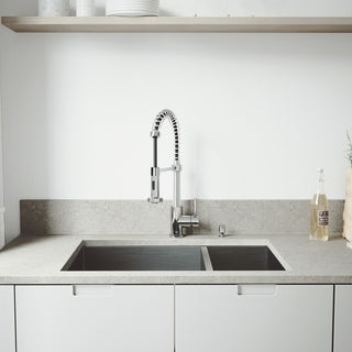 VIGO All-in-One 29-inch Stainless Steel Undermount Kitchen Sink and Edison Chrome Faucet Set