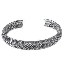 La Preciosa Sterling Silver Mesh Cuff Bangle