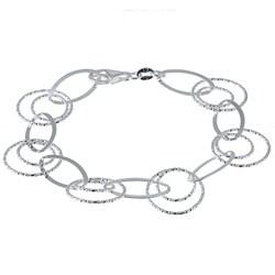 La Preciosa Sterling Silver Diamond-cut Link Bracelet