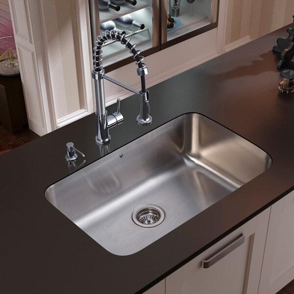 VIGO Undermount 304 Series Stainless-Steel Kitchen Sink, Faucet and Dispenser