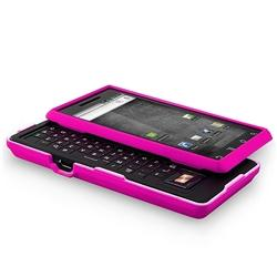 Hot Pink Snap-on Rubber Case/ Screen Protector for Motorola A855 Droid - Thumbnail 1