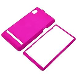 Hot Pink Snap-on Rubber Case/ Screen Protector for Motorola A855 Droid - Thumbnail 2