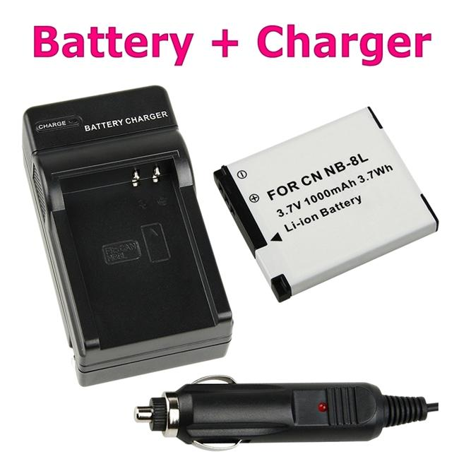INSTEN Compact Battery Charger/ Compatible Li-ion Battery for Canon NB-8L