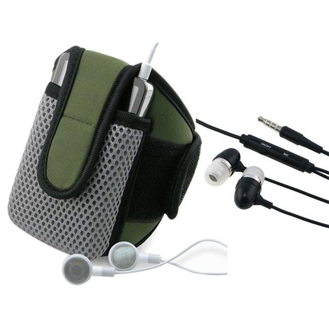 INSTEN Olive Sportband with Phone Case Cover/ Black 3.5mm Headset for Apple iPhone 4