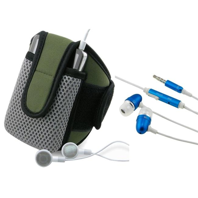 INSTEN Olive Padded Sportband with Phone Case Cover/ Headset for Apple iPhone 3G/ 3GS