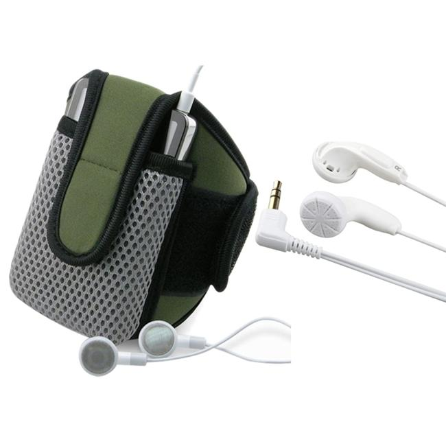 INSTEN Olive Sportband with iPod Case Cover/ White 3.5mm Headset for Apple iPod Touch