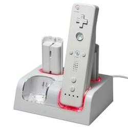 INSTEN Battery Charging Station with 4 Batteries for Nintendo Wii
