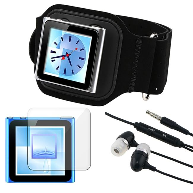 3-piece Suede SportBand/ LCD Protector/ Headset for Apple iPod Nano Gen6 - Thumbnail 0