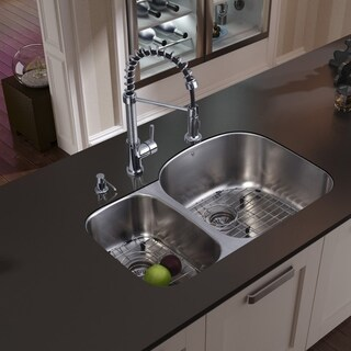 VIGO All-in-One 31-inch Stainless Steel Undermount Kitchen Sink and Edison Chrome Faucet Set
