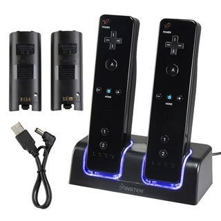 INSTEN Dual Charging Station w/ 2 Rechargeable Batteries for Nintendo Wii