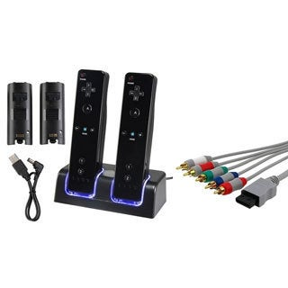 INSTEN Dual Charging Station/ Component Audio Video Cable for Nintendo Wii