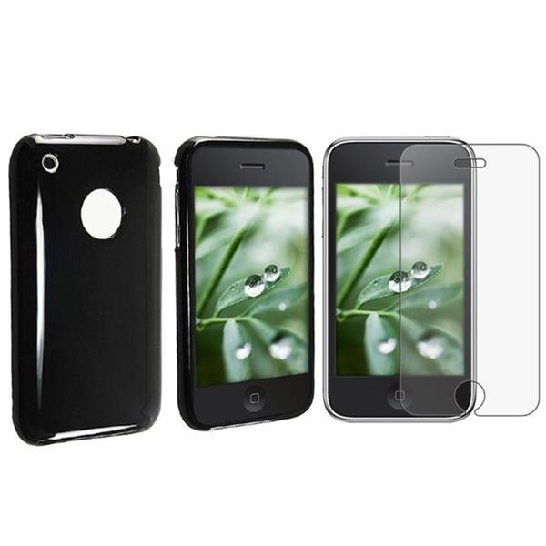 INSTEN Black TPU Rubber Phone Case Cover/ Anti-glare LCD Filter for Apple iPhone 3G/ 3GS