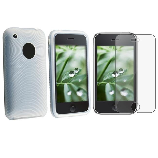 White Textured Skin Case/ Screen Protector for Apple iPhone 3G/ 3GS