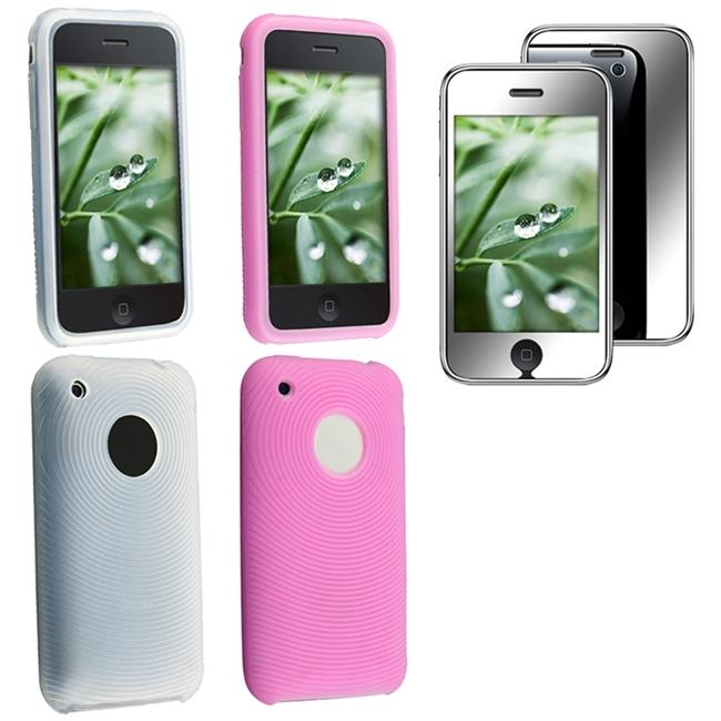 3-piece White/ Pink Skin Case/ LCD Protector for Apple iPhone 3G/ 3GS