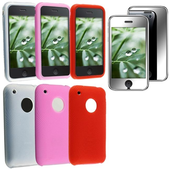 4-piece Skin Cases/ Mirror Screen Protector for Apple iPhone 3G/ 3GS