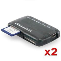 INSTEN Smoke Mini All-in-1 USB 2.0 Memory Card Reader (Pack of 2)