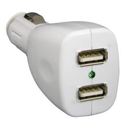 White USB 2-in-1 Data Cable/ 2-port USB Car Charger for SanDisk Sansa - Thumbnail 2