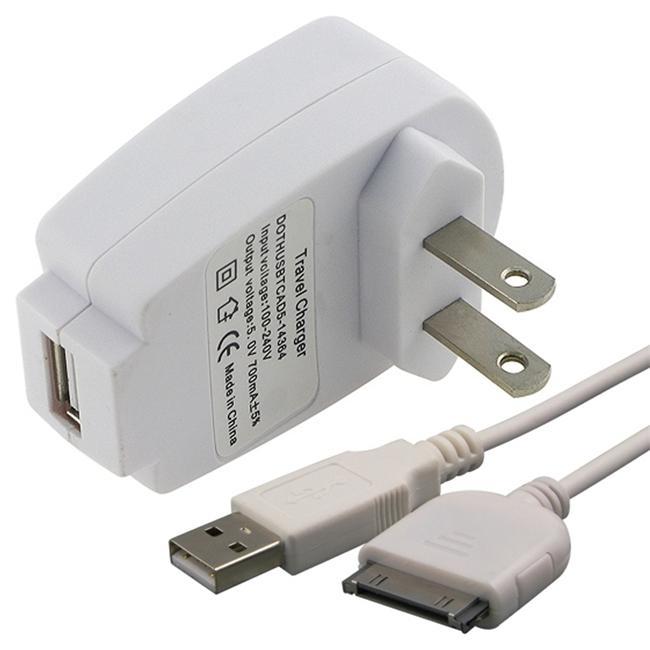White USB 2-in-1 Data Cable/ USB Travel Charger for SanDisk Sansa