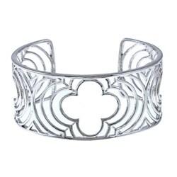 La Preciosa Sterling Silver Wide Clover Cuff Bracelet