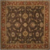 Hand-tufted Coliseum Brown Floral Border Wool Area Rug (8' Square)