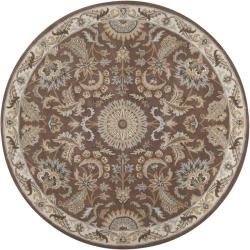 Shop Hand Tufted Tapestry Golden Brown Wool Rug 8 Round