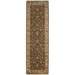 Hand-knotted Medallion Brown Wool Rug (2'6 x 8')
