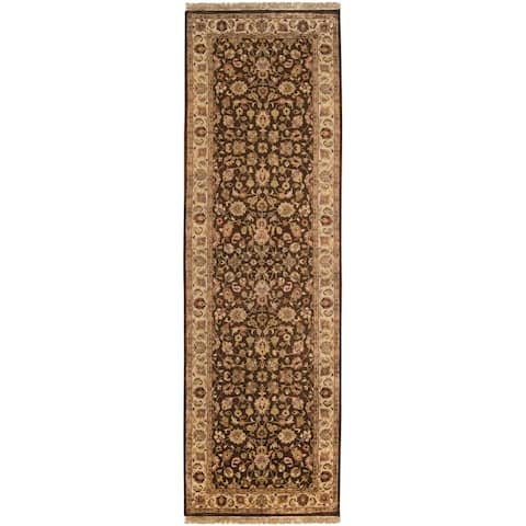 """Hand-knotted Medallion Brown Wool Area Rug - 2'6"""" x 8' Runner"""
