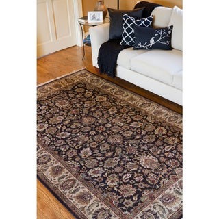 Hand-knotted Medallion Brown Wool Rug (9'6 x 13'6)