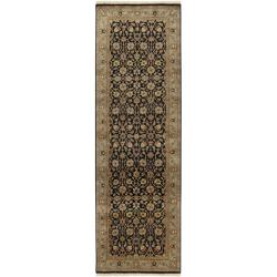 Hand-knotted Medallion Black Wool Rug (3' x 12')