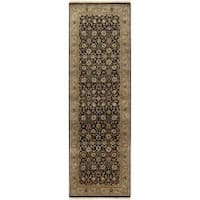Hand-knotted Medallion Black Wool Area Rug (3' x 12')