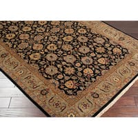 Hand-knotted Medallion Black Wool Area Rug (5'6 x 8'6) - 5'6 x 8'6