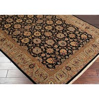 Hand-knotted Medallion Black Wool Area Rug - 9'6 x 13'6