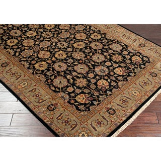 """Hand-knotted Medallion Black Wool Area Rug - 9'6"""" x 13'6"""""""
