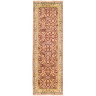 "Hand-knotted Treasures Cinnamon Wool Area Rug - 2'6"" x 8' Runner"