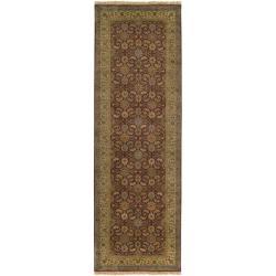 Hand-knotted Medallion Cinnamon Wool Rug (3' x 12') - Thumbnail 1