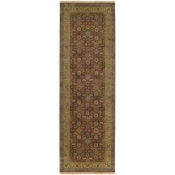 Hand-knotted Medallion Cinnamon Wool Rug (3' x 12') - Thumbnail 2
