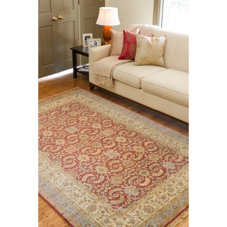 Hand-knotted Medallion Cinnamon Wool Rug (9'6 x 13'6)