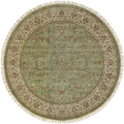 Hand-knotted Finial Desert Sage Wool Rug (8' Round)