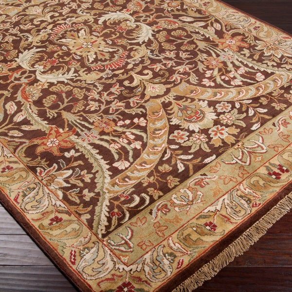 Hand-knotted Taj Mahal Brown Wool Area Rug - 5'6 x 8'6