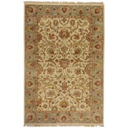 Hand-knotted Finial Cream Wool Area Rug (5'6 x 8'6) - Thumbnail 0