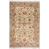 """Hand-knotted Finial Cream Wool Area Rug - 5'6"""" x 8'6"""""""
