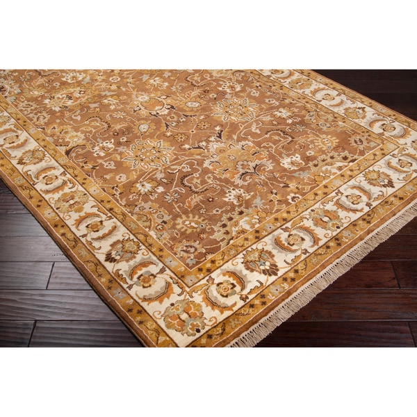 Hand-knotted Finial Brown Wool Area Rug (5'6 x 8'6)