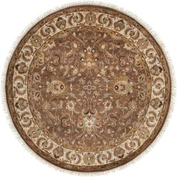 Hand-knotted Finial Brown Wool Rug (8' Round)