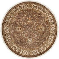 Hand-knotted Finial Brown Wool Area Rug - 8' Round