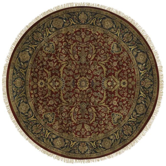 Hand-knotted Finial Red Wool Rug (8' Round)