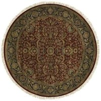 Hand-knotted Finial Red Wool Area Rug (8' Round)